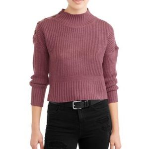 Say What? Mock Neck Button Detail Sweater Rose S
